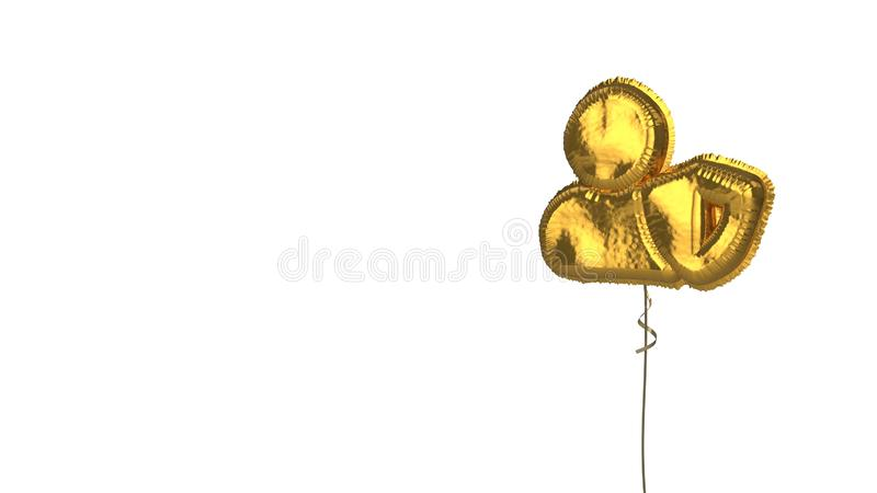 Gold balloon symbol of user shield on white background. 3d rendering of gold balloon shaped as symbol of user with shield isolated on white background with vector illustration