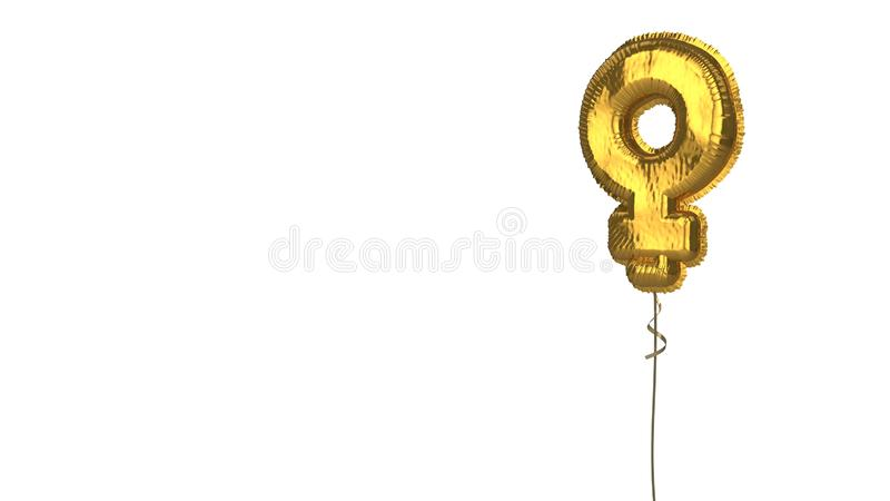 Gold balloon symbol of Venus on white background. 3d rendering of gold balloon shaped as symbol of woman sign isolated on white background with ribbon stock illustration