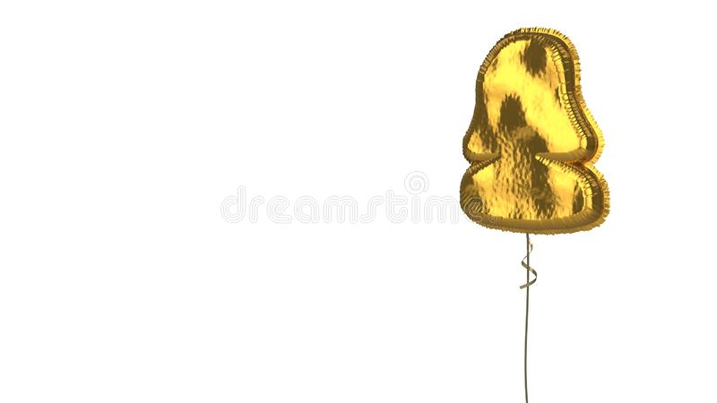 Gold balloon symbol of user  on white background. 3d rendering of gold balloon shaped as symbol of woman user  isolated on white background with ribbon stock illustration