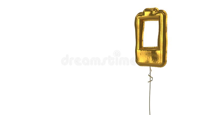 gold balloon vertical symbol of one fourth charged battery  on white background royalty free illustration