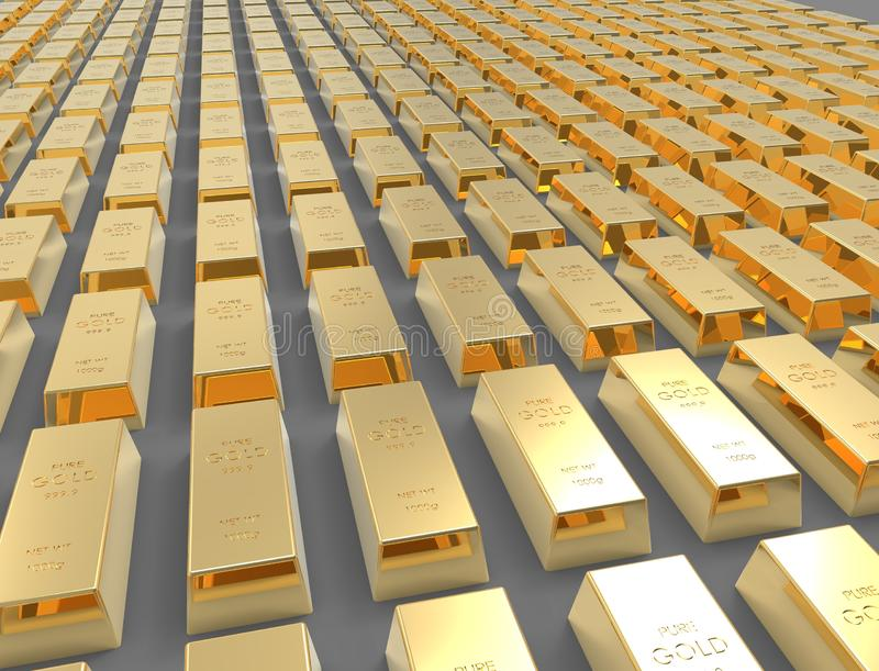 3D rendering of gold bars isolated on white studio background royalty free illustration