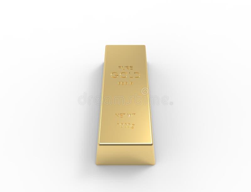 3D rendering of gold bars isolated on white studio background stock illustration