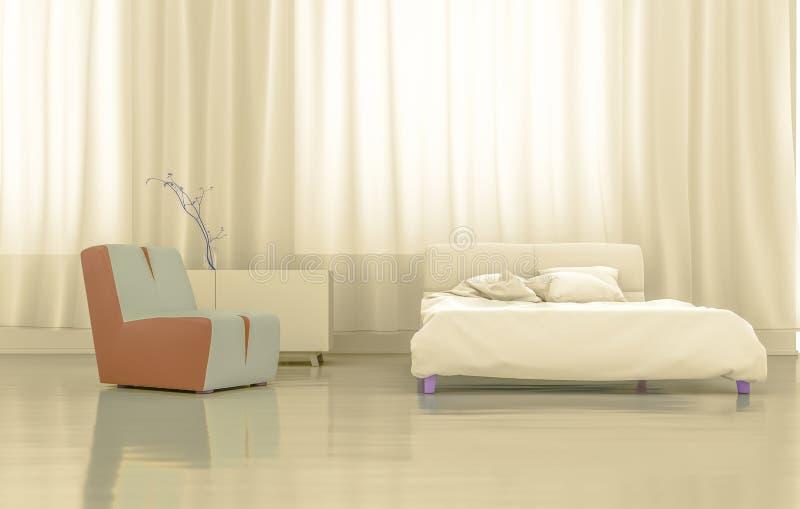 3D Rendering Gold Bedroom stock illustration