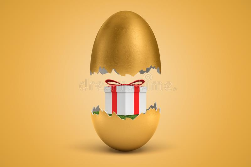 3d rendering of gold egg cracked in two, lower half with beautiful gift box on green grass inside, upper half in air, on. Ocher background. Presents and royalty free illustration