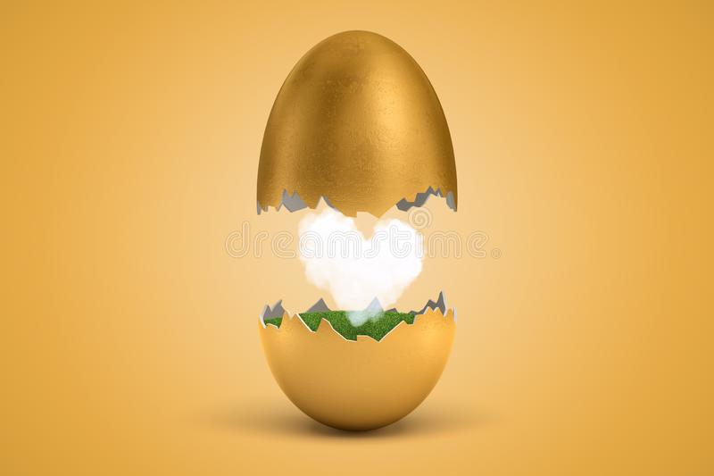 3d rendering of gold egg cracked in two, upper half levitating in air, lower on ground, with small white heart-shaped stock illustration