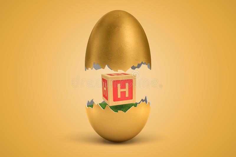 3d rendering of gold egg cracked in two, upper half levitating in air, lower on ground, with small wooden ABC block with. Letter H on sides between two halves royalty free illustration