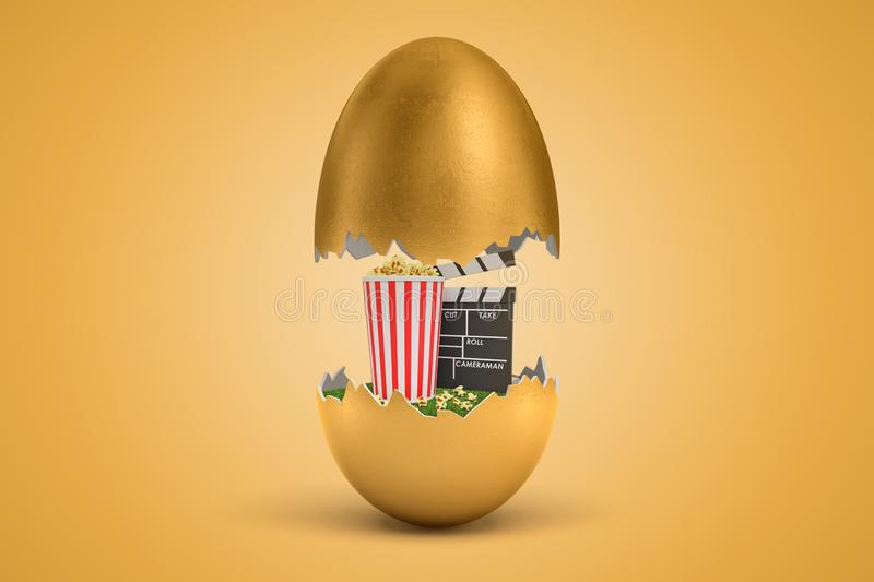 3d rendering of gold egg cracked in two, upper half levitating in air, popcorn bucket and clapperboard on green grass in. Lower half. Show time. Fun and leisure stock illustration