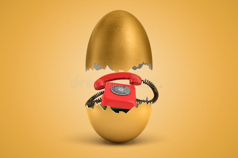 3d rendering of gold egg cracked in two, upper half levitating in air, red retro telephone on green grass inside lower. Half. Communication. Unconventional royalty free illustration