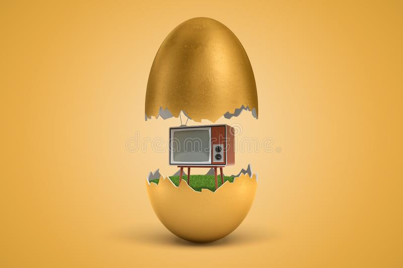 3d rendering of gold egg cracked in two, upper half levitating in air, retro TV set standing on green grass inside lower. Half, on ocher background. Creative royalty free illustration