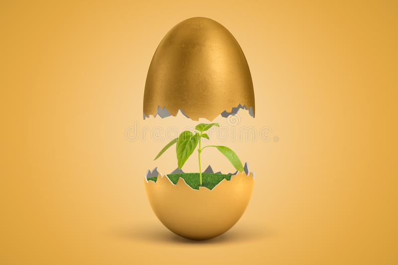 3d rendering of gold egg cracked in two, upper half levitating in air, small green sprout growing on green grass inside. Lower half. Sustainable agriculture royalty free illustration