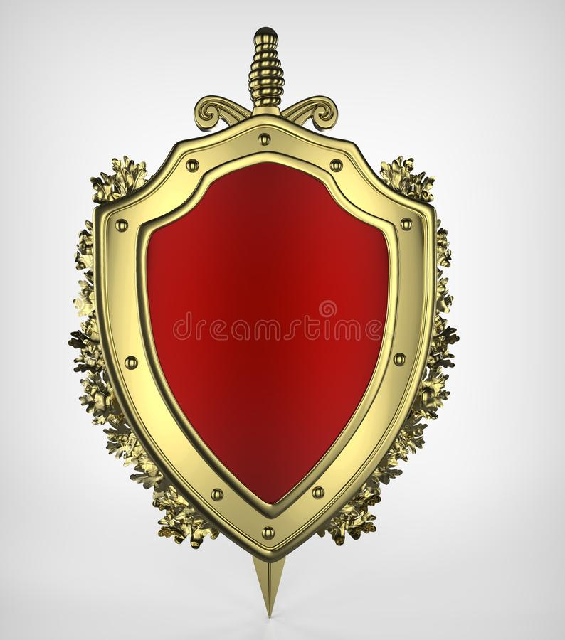 3d rendering gold shield, a sword and oak wreath. On white background royalty free illustration