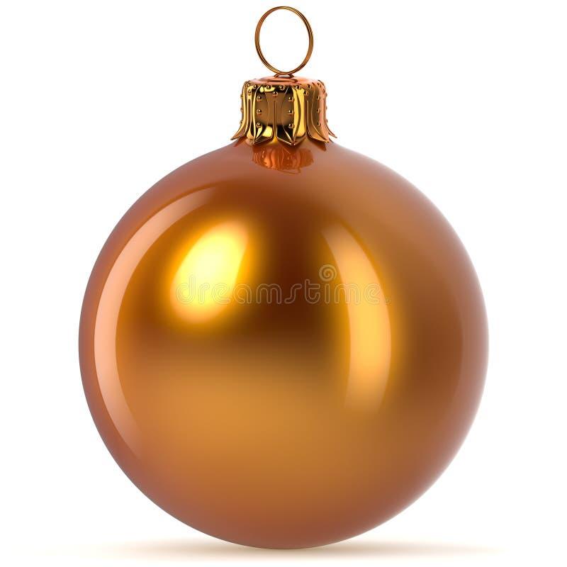 3d rendering golden Christmas ball decoration orange polished vector illustration