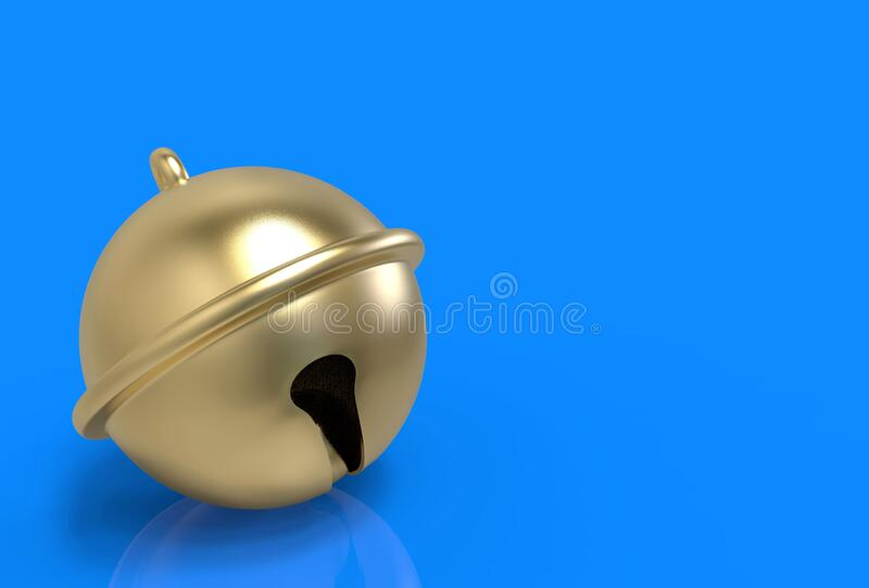 3d rendering. golden jingle bell on blue copy space background.  royalty free illustration