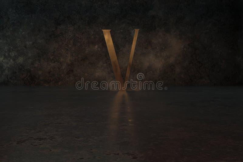 3d rendering of golden metallic letter V on grunge reflecting floor vector illustration