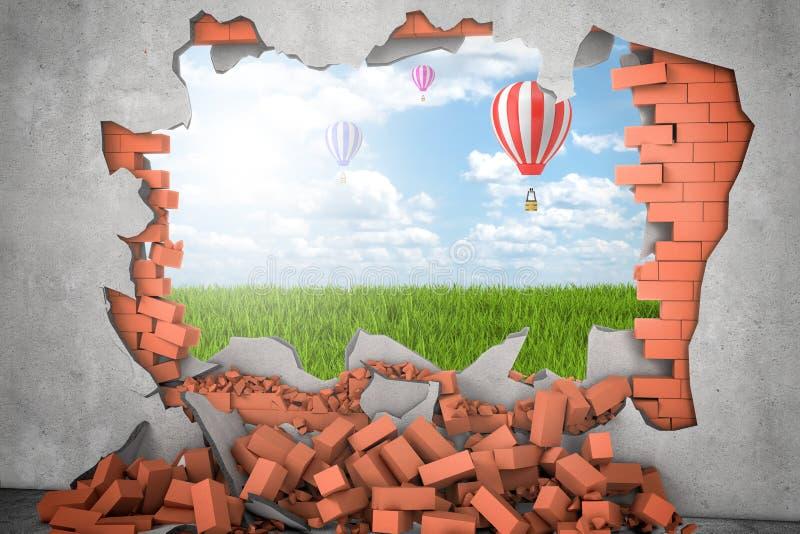 3d rendering gorącego powietrza ballon w niebie nad zielona trawa widzieć przez przerwy w czerwonej ścianie z cegieł zdjęcie royalty free