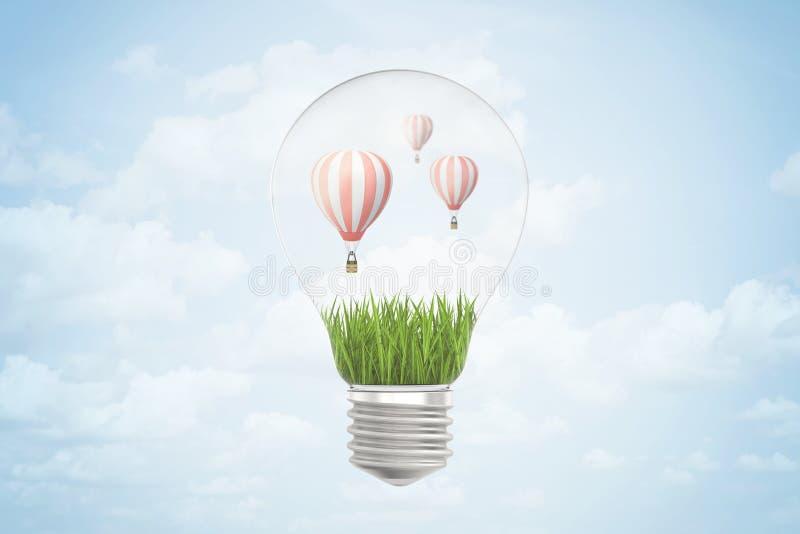 3d rendering gorące powietrze balony wśrodku żarówki na błękitnym tle ilustracji