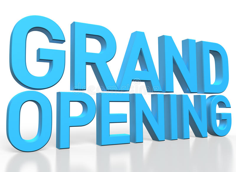 3d rendering of Grand Opening blue glossy text on white background stock illustration