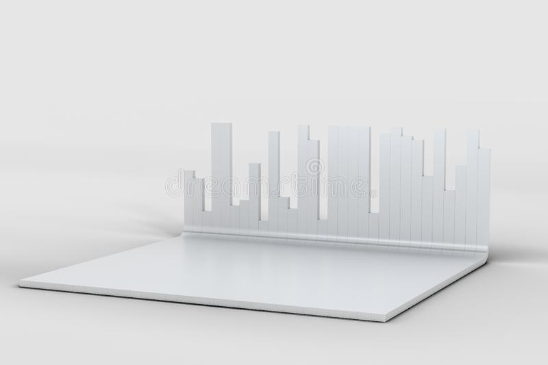 3d rendering, graph chart background, business graph royalty free illustration
