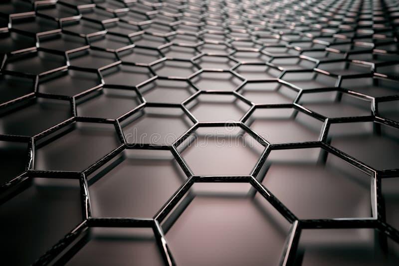 3D rendering graphene powierzchnia, czerń spaja z węgiel glansowaną strukturą ilustracji