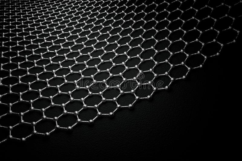3D rendering of graphene surface, grey atoms and bonds with carbon structure royalty free stock photos