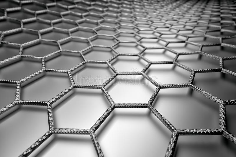 3D rendering of graphene surface, grey bonds with carbon structure stock photography