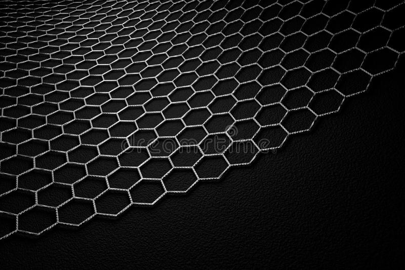 3D rendering of graphene surface, grey bonds with carbon structure stock image