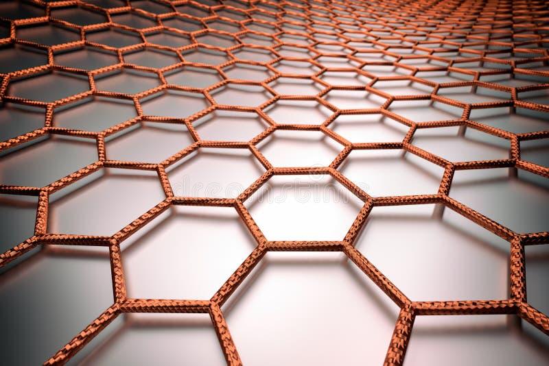 3D rendering of graphene surface, orange bonds royalty free stock photos