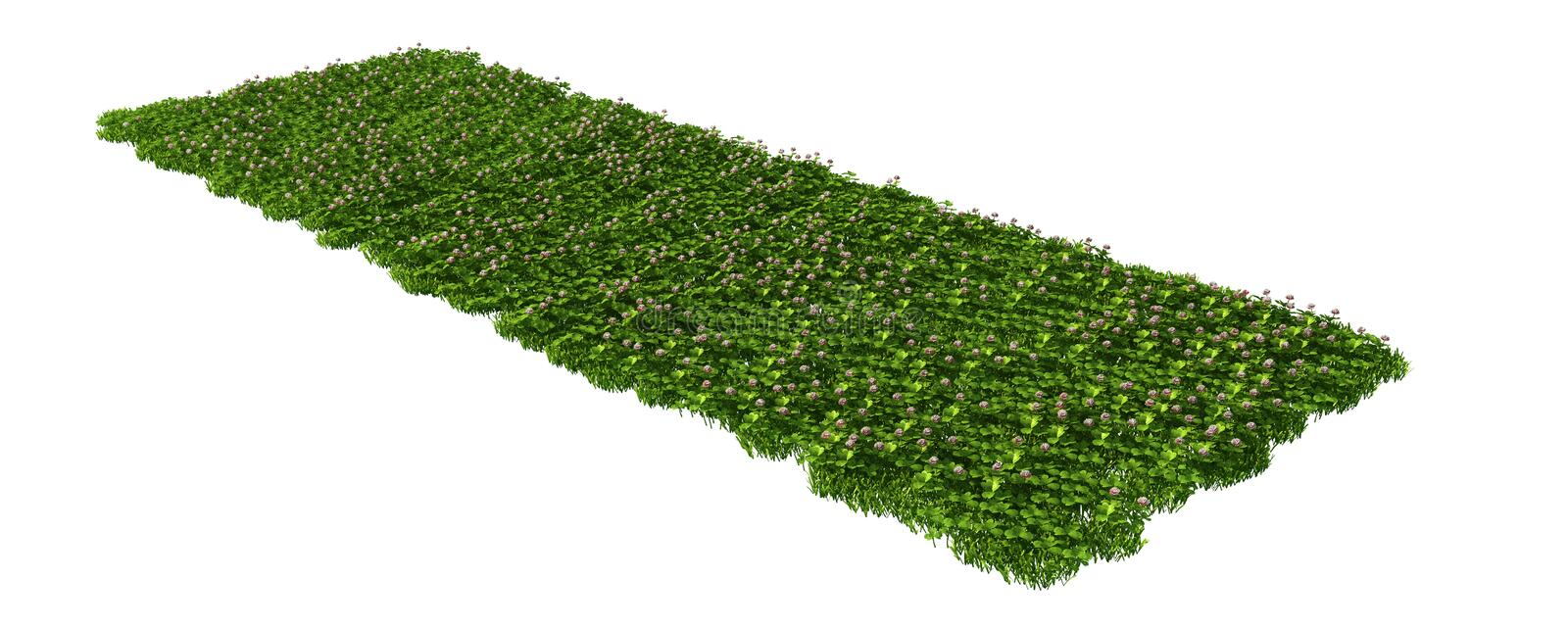 3d rendering of a grass patch on white for architecture royalty free illustration
