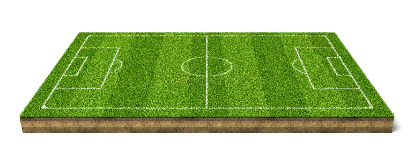 3d rendering of a grass sport field with white lines marking the game positions. royalty free illustration