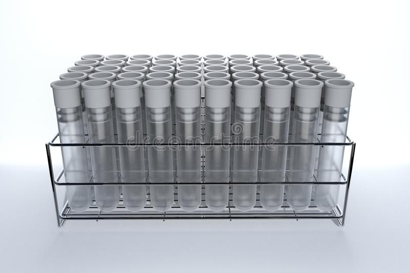 3d rendering of Gray laboratory tube with stainless rack on the white background. royalty free illustration