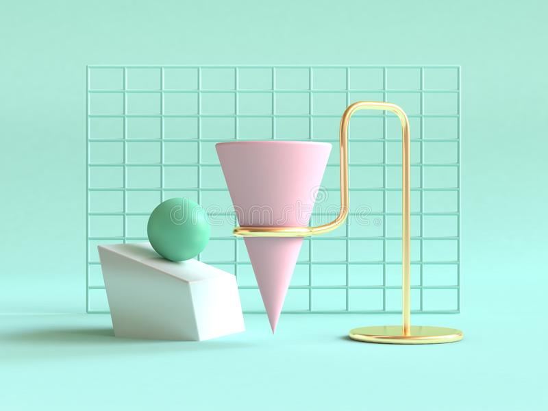 3d render green background geometric shape abstract still life scene pink green gold. 3d rendering green background geometric shape abstract still life scene vector illustration