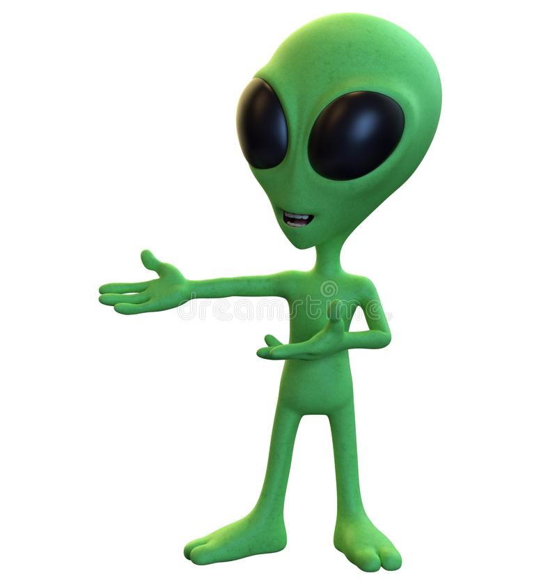 Green Cartoon Alien Presenting to the Left. 3D rendering of a green cartoon alien with his arms raised, presenting to the left isolated on a white background stock illustration