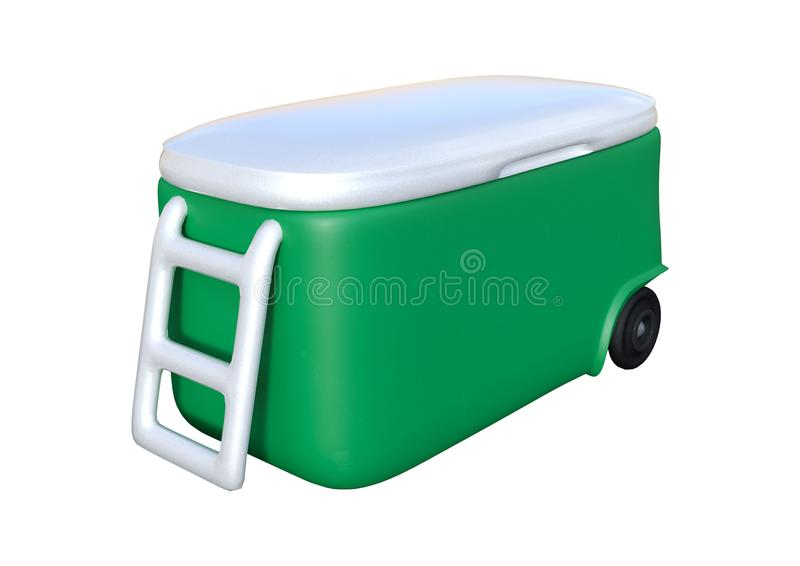 3D Rendering Cooler on White. 3D rendering of a green cooler isolated on white background royalty free stock images