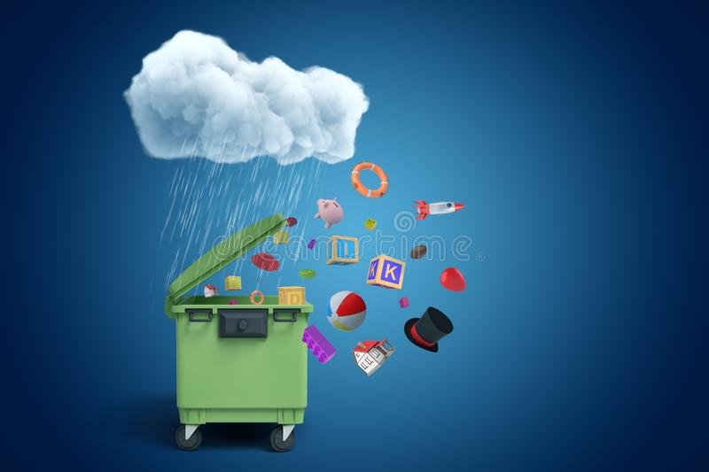3d rendering of green dumpster standing under raining cloud, different objects flying out from under its open lid on stock illustration