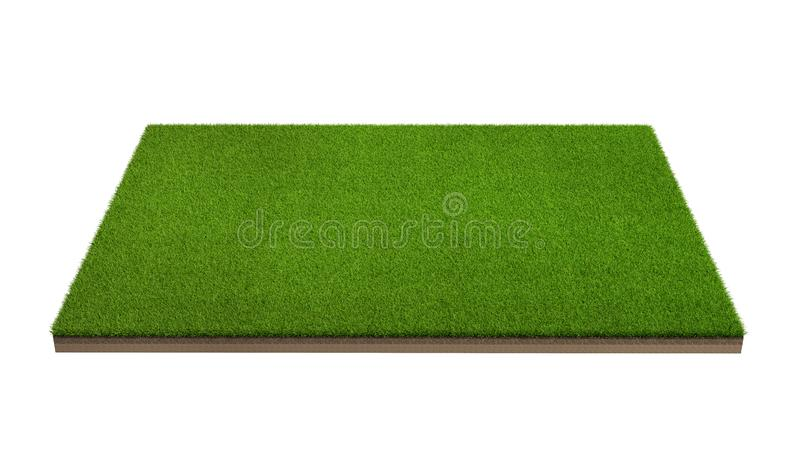 3d rendering of green grass field isolated on a white background stock photo