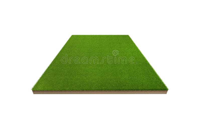 3d rendering of green grass field isolated on a white background stock photography