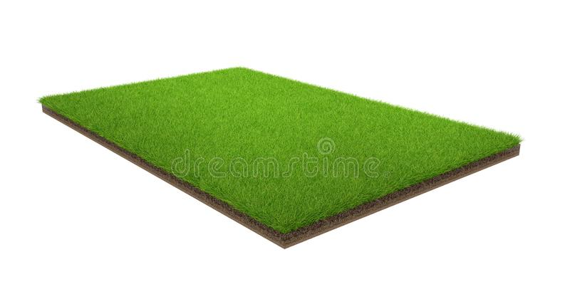 3d rendering of green grass field isolated on a white background with clipping path. Sports field stock photo