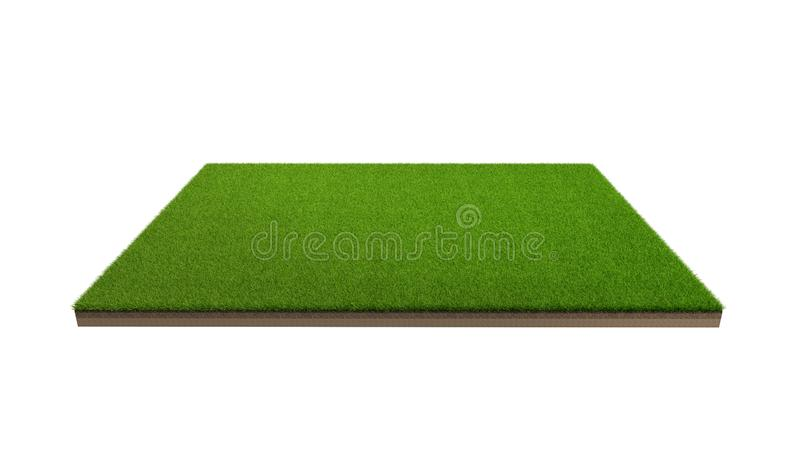 3d rendering of green grass field isolated on a white background royalty free stock images