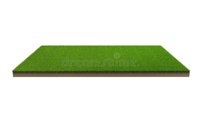 3d rendering of green grass field isolated on a white background royalty free stock image