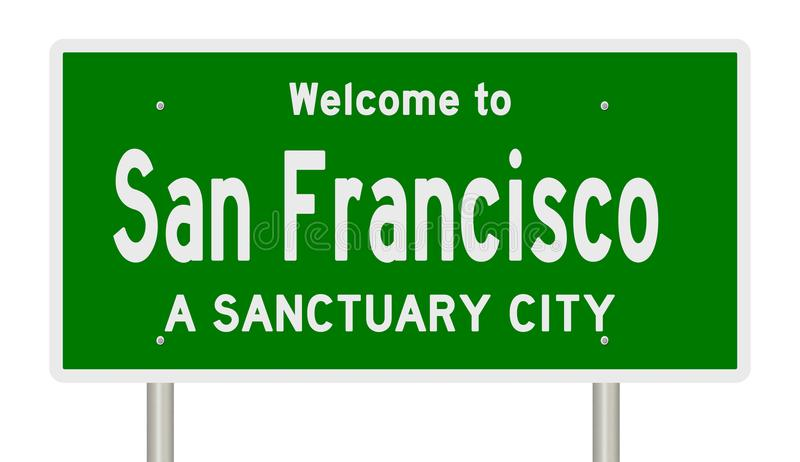 Rendering of highway sign for sanctuary city San Francisco royalty free illustration