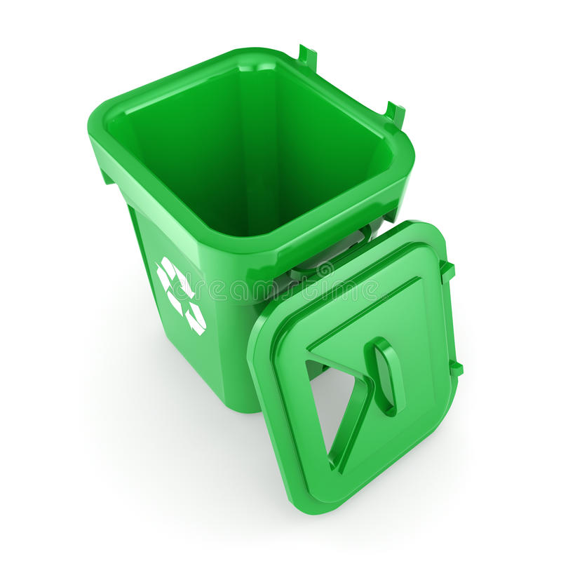 3D rendering Green recycling Bin. Isolated on white background stock illustration