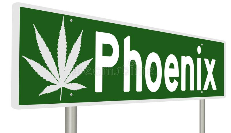 Highway sign with marijuana leaf for Phoenix stock illustration
