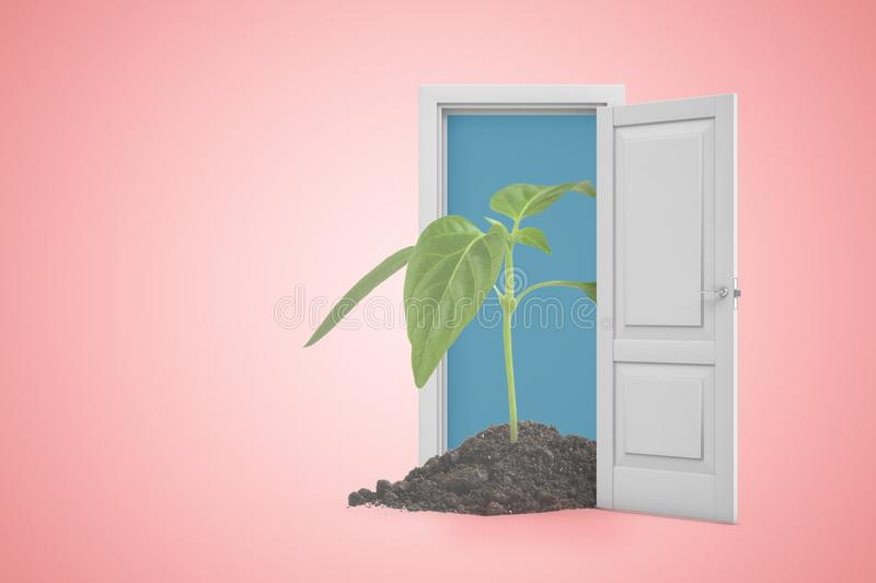 3d rendering of green sprout in white doorway on pink background. Ecology and environment. stock illustration