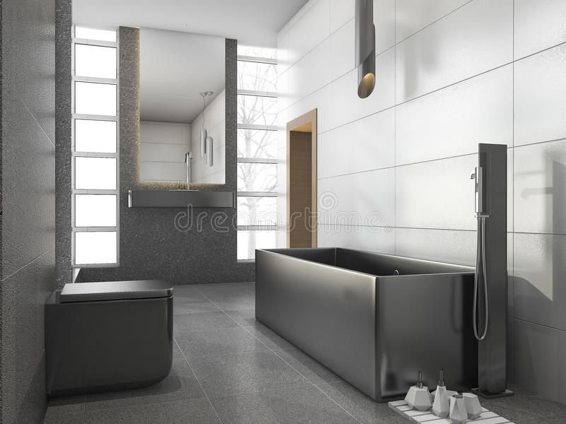 Download 3d Rendering Grey Stainless Metal Bathroom With White Tile And Stone  Tile Stock Illustration