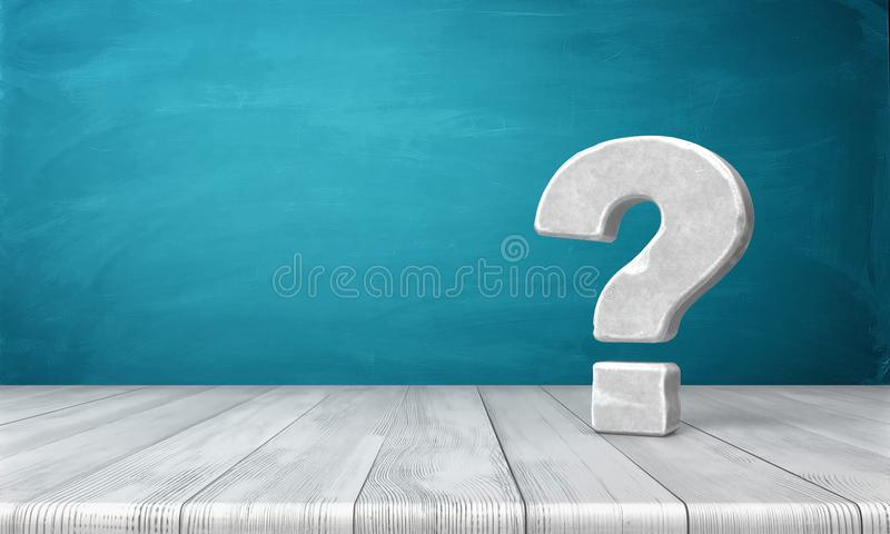 3d rendering of a grey-white question mark made of stone standing on a wooden table on blue background. vector illustration
