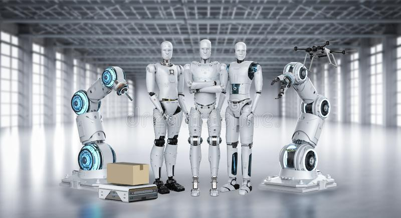 Group of automation robots vector illustration