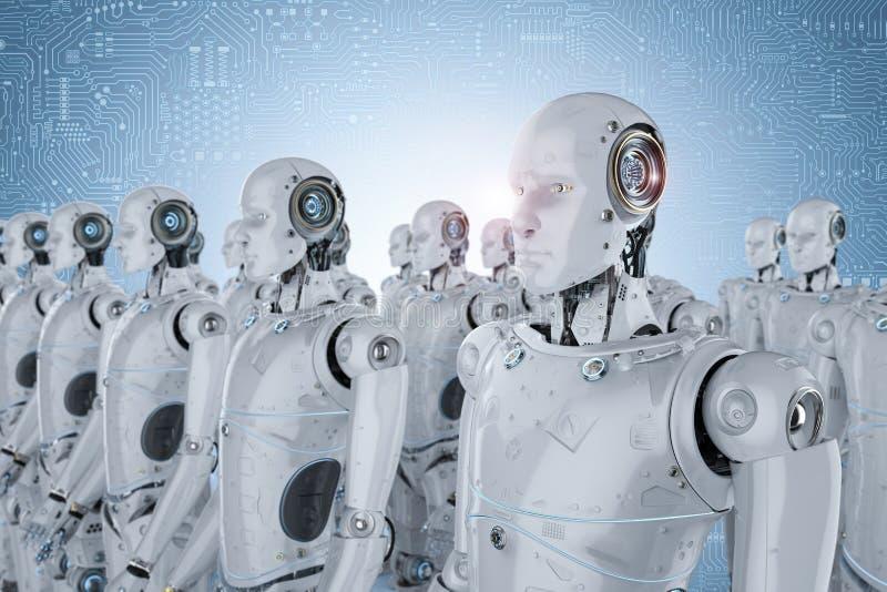 Group of robots stock illustration