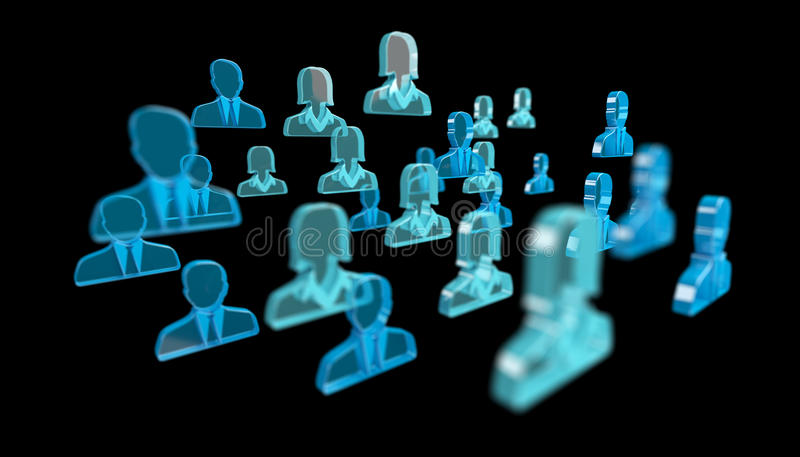 3D rendering group of icon blue people stock illustration