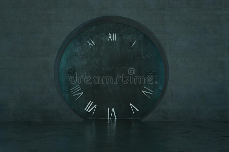 3d rendering of grunge wall and circle opening with roman numerals royalty free stock image