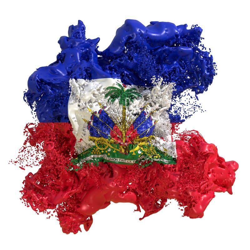 Haiti flag liquid. 3d rendering of a Haiti country flag in a liquid fluid. Isolated on white background vector illustration